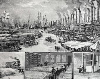 Southern Cotton Plantation Culture 1883 NEW ORLEANS STEAMERS Trains Docks Professionally Matted Antique Harper's Engraving Ready to Frame