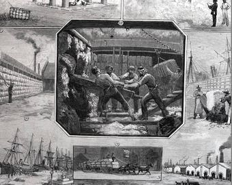 Southern Cotton Plantation Culture 1883 EUROPEAN STEAMERS LEVEE Workers Dock Professionally Matted Antique Harper's Engraving Ready to Frame
