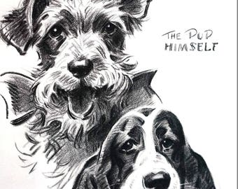 Morgan Dennis BASSET HOUND and  TERRIER Burlap and Himself 1946 Fine Quality Professionally Matted  Dog Print Ready to Frame Wall Art