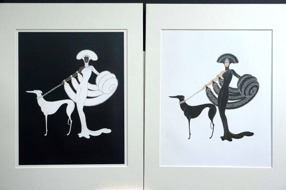 Ebony and White  by Erte  Paper Print Repro