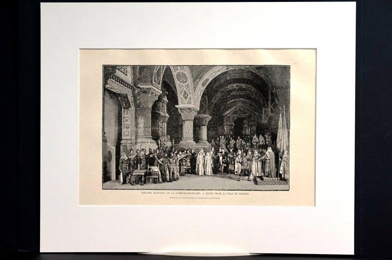 Dochy 1899 Theater Nationale de la COMEDIE-FRANCAISE La Fille de Roland Paris France Professionally Matted Antique Print Ready to Frame