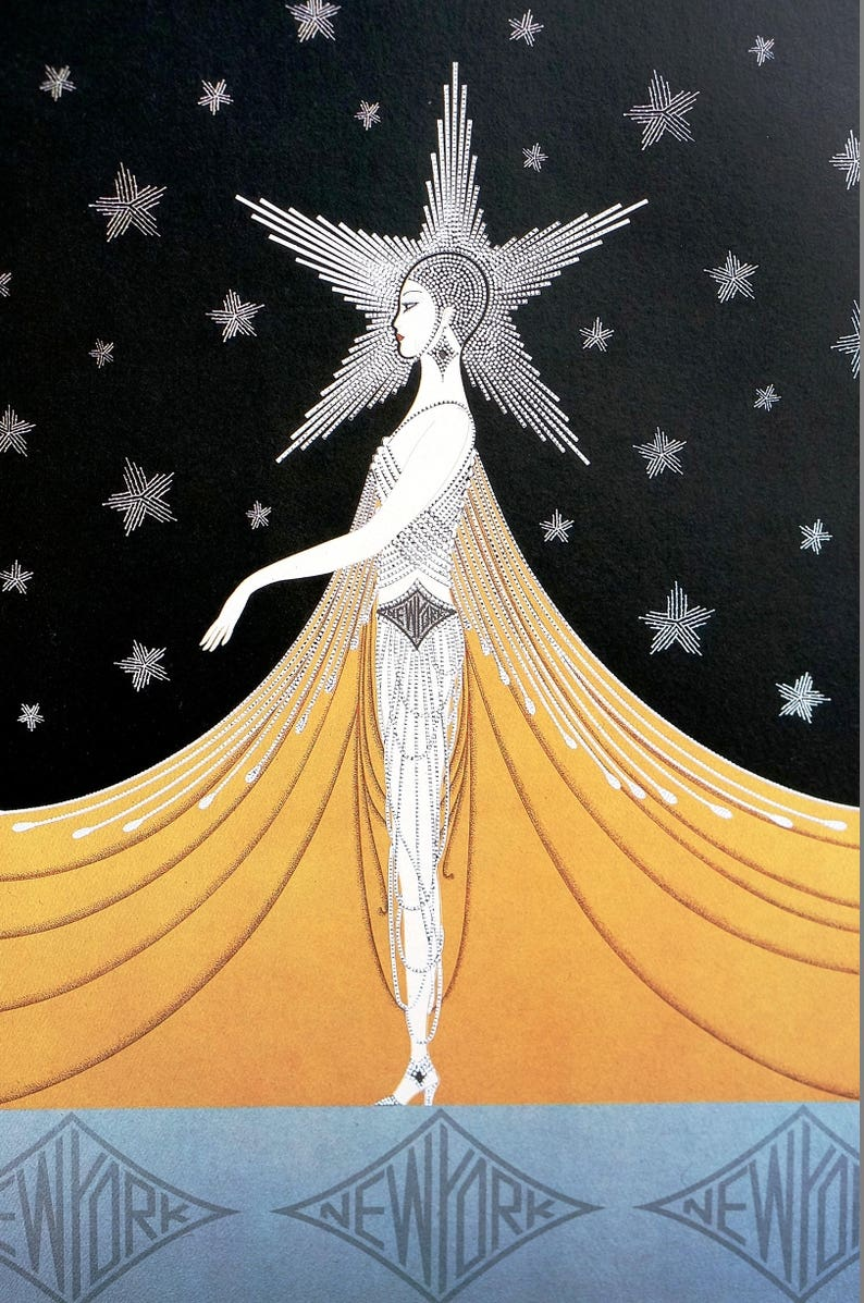 Emotions Love  by Erte  Paper Print Repro