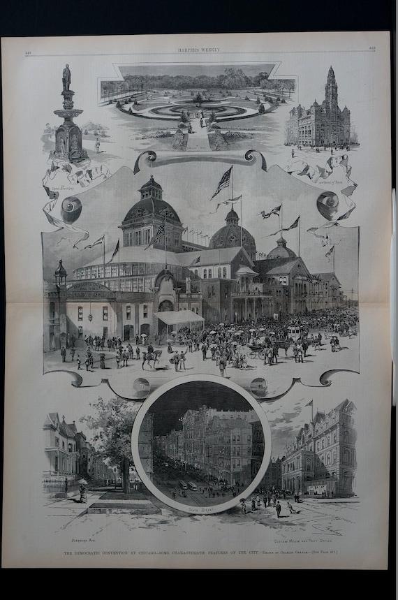 CITY OF CHICAGO DEMOCRATIC CONVENTION 1884 CUSTOM HOUSE