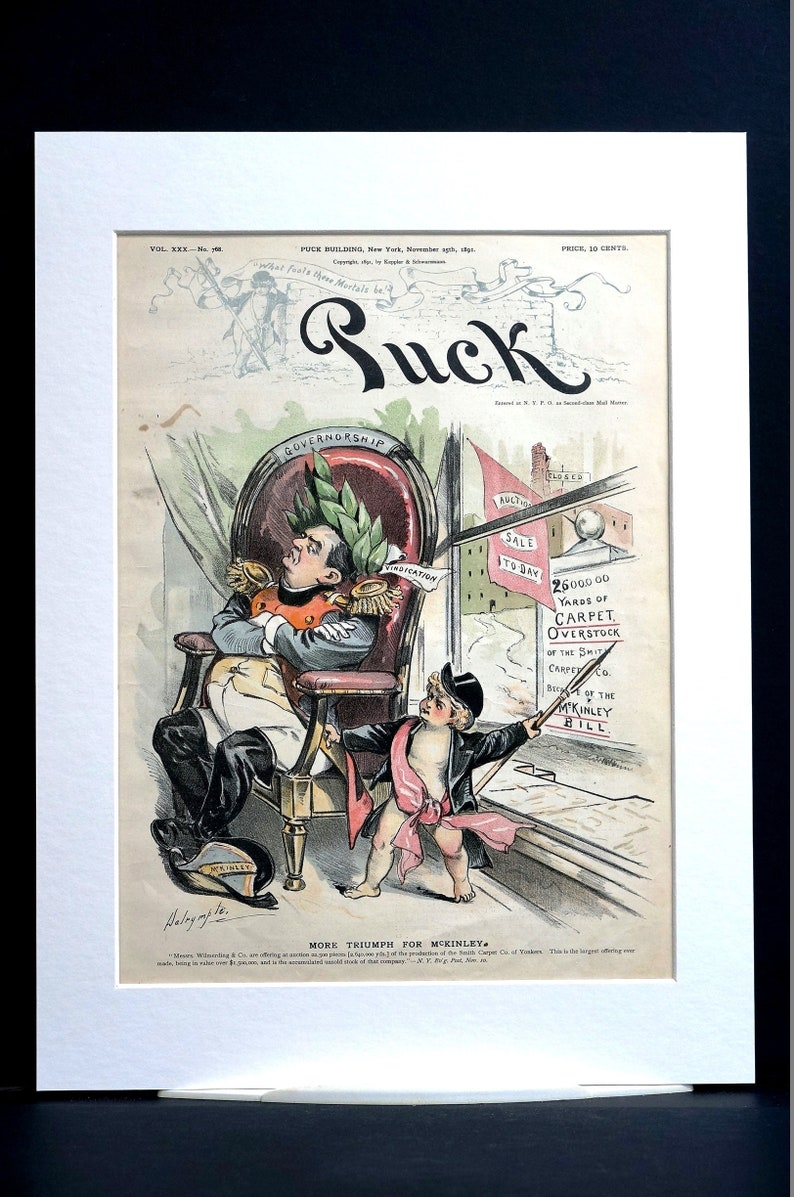 Governor McKinley Bill 1891 SMITH CARPET COMPANY Overstock Auction Sale Professionally Matted Puck Political Cover Art Print Ready to Frame