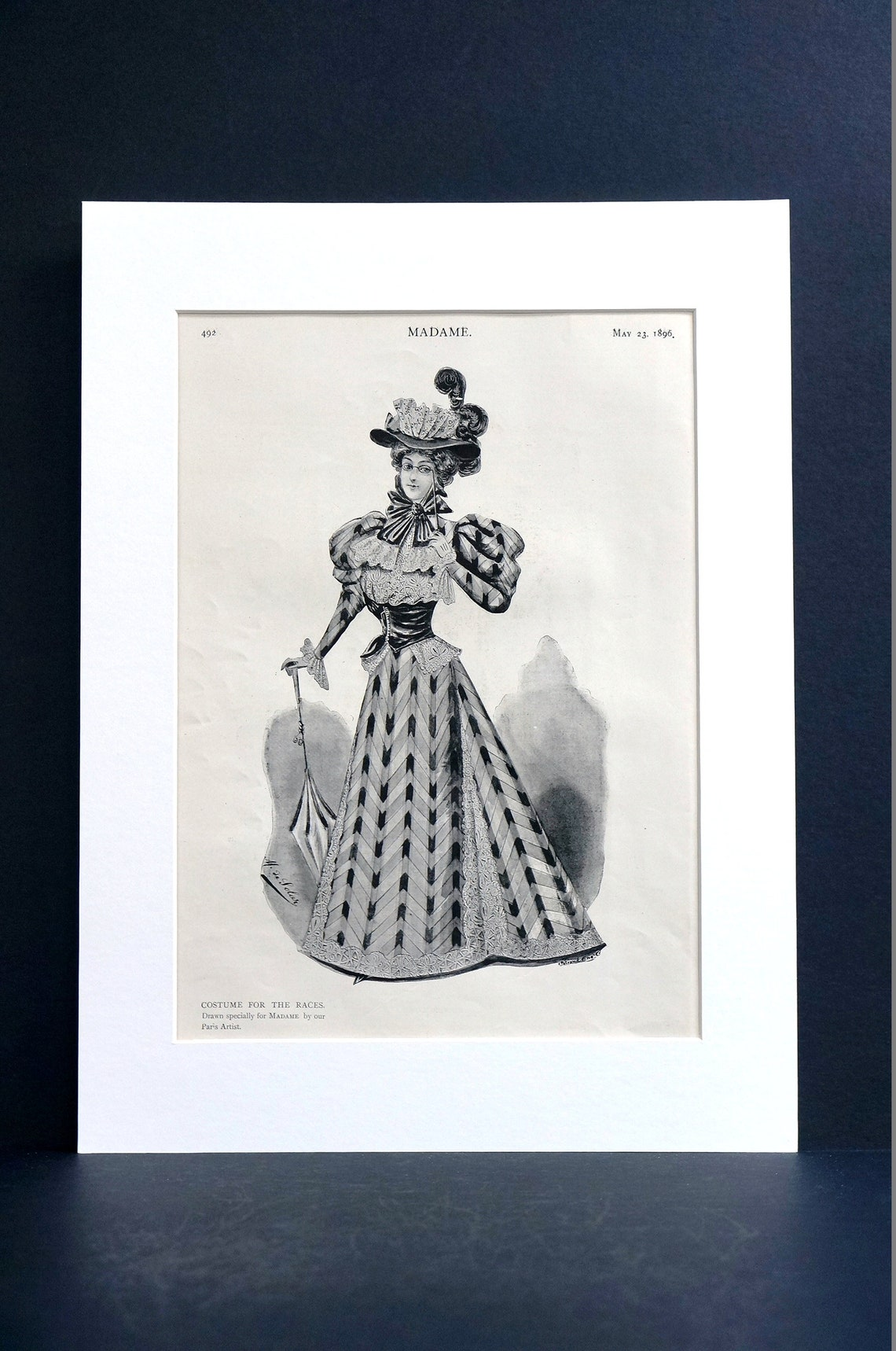 Costume for the RACES 1896 VICTORIAN Lady in Dress Feather Hat   Etsy