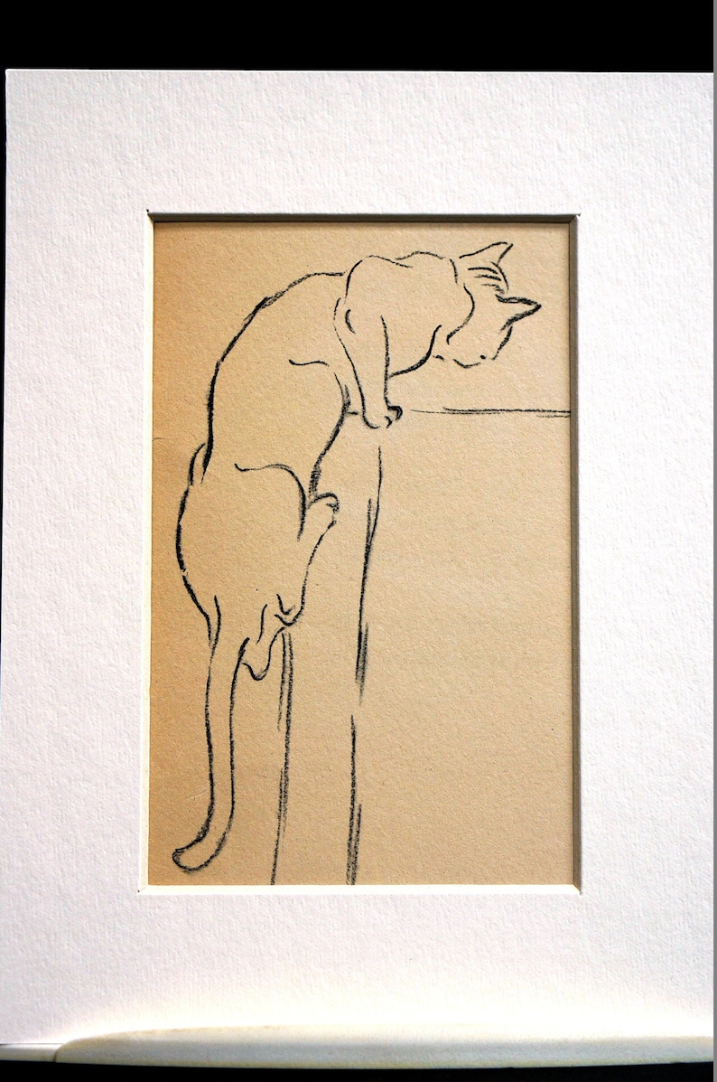 Japanese Style CAT KITTEN Print - Gladys Emerson Cook 1941 - Cat Climbing  Furniture Vintage Print Professionally Matted Ready to Frame