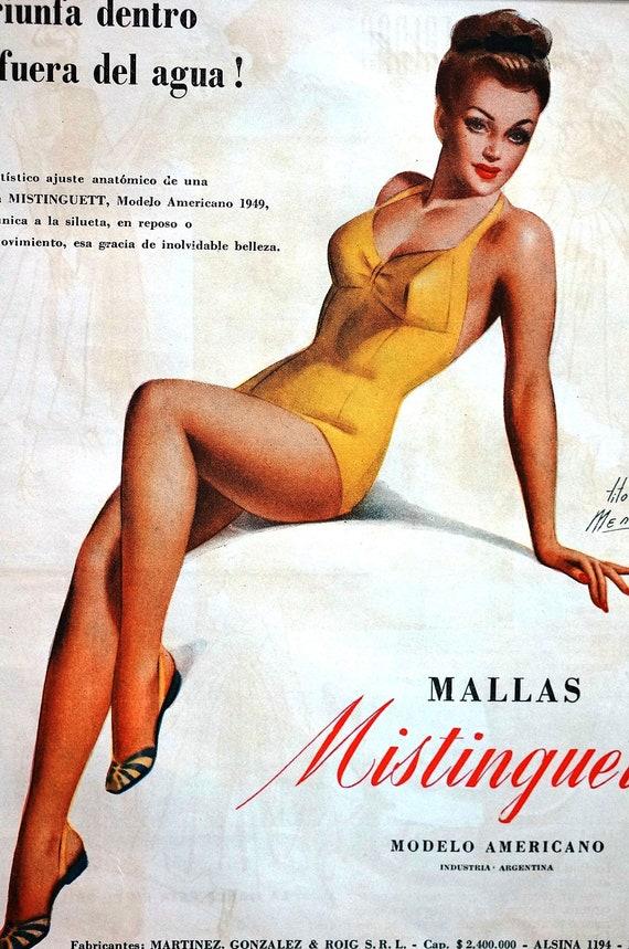 Tito Menna NYLON STOCKINGS Mallas Mistinguett Beautiful Pin Up GIRL Modelo Americano 1949 Matted Spanish Language Print Ad Ready to Frame
