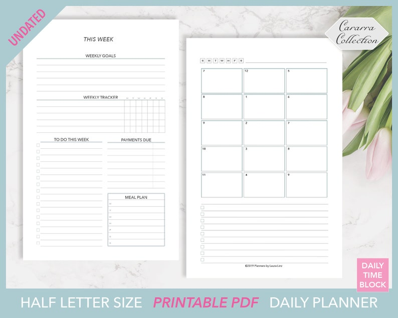 picture about Page a Day Planners referred to as UNDATED Day-to-day Season Block Planner Printable w/ Weekly Method for 50 percent Letter ring or disc sure planners, Routine, Working day for every Web site, Everyday Timetable
