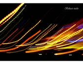 Wall art decor Abstract Light Photography, INSTANT DOWNLOAD, black, sparkle bokeh, modern print, yellow, red,blue lines dark photo, gift