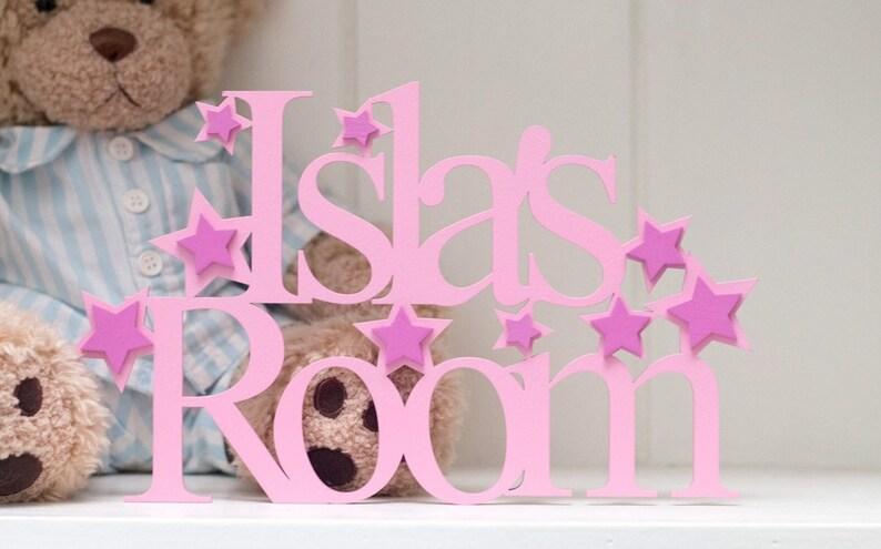 Bedroom door sign or door plaque, PINK themed bedroom, Stars theme,  Butterfly bedroom, hearts theme room, nursery decor, Girls bedroom