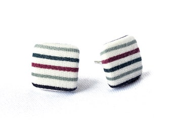 Stud earrings earring earrings white grey bordeaux black stripes cornerig fabric ear stud fabric earring button ear plug button earring 15 mm