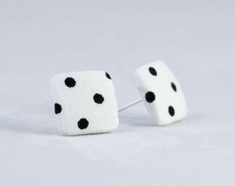 Stud earrings white black corner dots dotted fabric ear stud fabric earring fabric button ear plug button earring dots 15 mm 15 mm