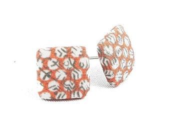 Stud earrings earring earrings salmon white grey pattern cornerig fabric fabric ear plug fabric earring button ear plug button earring 15 mm 15 mm orange