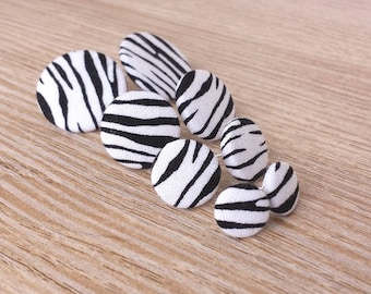 Stud earrings zebra black white fabric earring fabric earplug fabric large small zebra stripes fur striped zebra fur retro