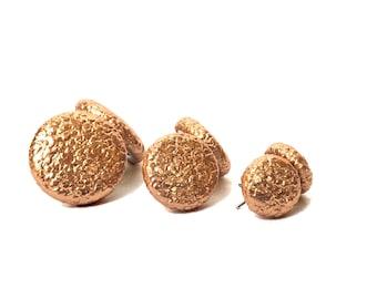 Stud earrings earring earrings Apricot structure faux leather fabric earring fabric earplug spine button earring button ear plug fabric large small shiny