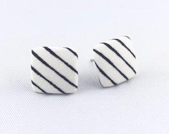 Stud earrings earring earrings white black stripes square fabric studs fabric earring fabric earring 15 mm striped noble chic zebra stripes zebra