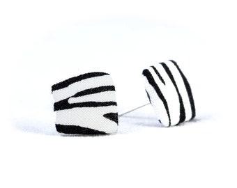 Earstud Ohhring earrings white black zebra cornerig fabric fabric ear stud sandear ring zebra stripe animal fur 15 mm gift girlfriend
