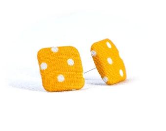 Stud earrings rap earrings rapeseed yellow white cornery dots fabric ear stud fabric earring fabric button ear plug button earring dots 15 mm 15 mm