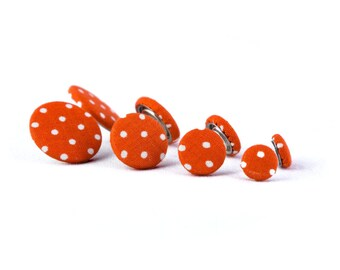 Stud earrings orange white dots dots fabric ear plug fabric earring fabric large small dots bright red pure orange light red