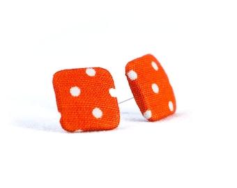 Stud earrings earring earrings orange white corner dots dots dotted fabric ear stud fabric earring fabric button stud dots 15 mm 15 mm