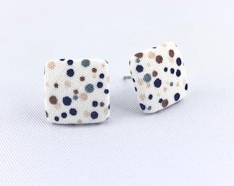 Stud earrings earring earrings white green beige blue dots angular fabric fabric earplug fabric earring 15 mm sage brown dark blue dots