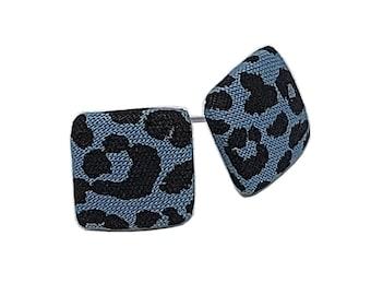 Stud earrings earring earrings blue black leo fur leopard cornerig fabric fabric ear stud fabric earring button ear plug button earring 15 mm
