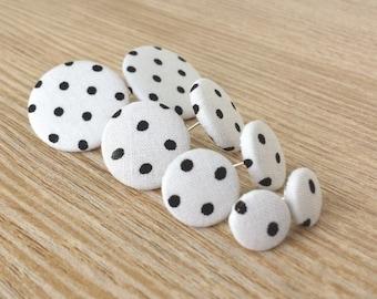 Stud earrings earrings white black dot dotdot dotdot dotdot dots dotted fabric earring fabric large retro polka dots button earrings