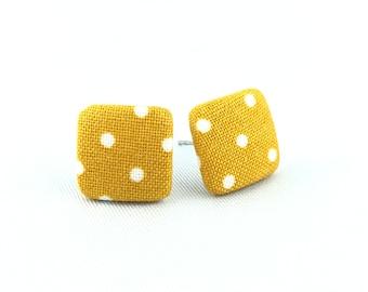 Stud earrings earring earrings mustard yellow white dots cornery fabric fabric ear plug fabric earring button ear plug button earring 15 mm 15 mm mustard colors