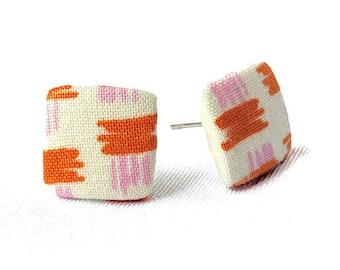 Stud earrings stud earrings beige orange pink pattern cornerig fabric fabric ear plug fabric earring button ear plug button earring 15 mm 15 mm