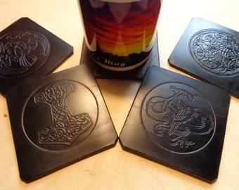 Set of 4 Coasters, Viking Coasters, Nordic Symbols, Black Leather Coasters, Handmade Coasters. Home and Living, Kitchen and Dining, Coasters