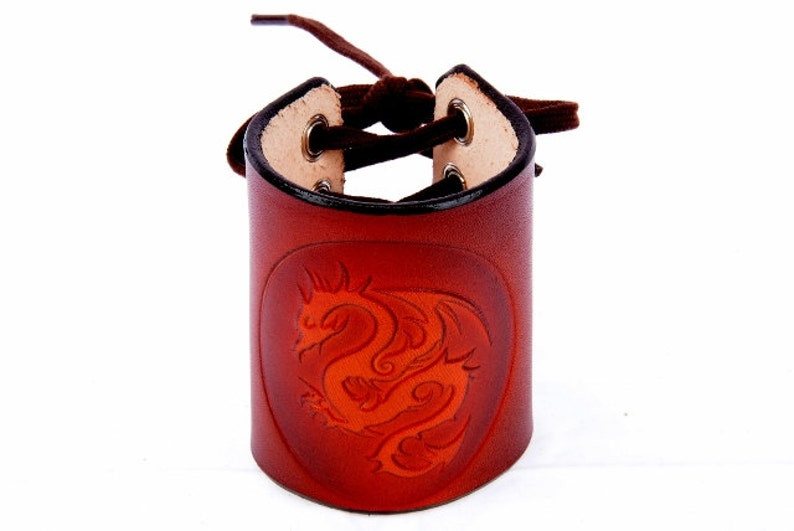 Red Brown Dragon Wrist Cuff Dragon Cuff One Size Laced Leather By Leather Meister. Handmade Leather Wrist Cuff Unisex Leather Arm Band
