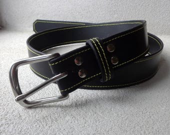 Mans Belt, Gents Belt, Black Belt, Leather Belt,Handmade Leather Belt,Yellow Stitched Belt, Gift for Him, Gents Gift, Made to Measure Belt