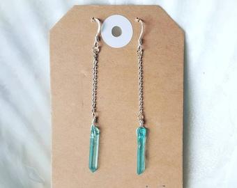 Aqua Aura Quartz Crystal Chain Earrings