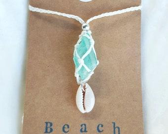 Green Aura Quartz Net Necklace