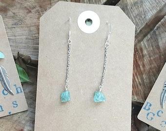 Apatite Raw Crystal Chain Earrings