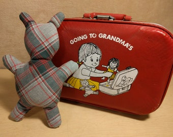 Vintage~Going to Grandma's~Suitcase~Red~Hard Case~Child's~Overnight~Weekend~1970s~Kids~