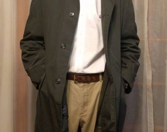 Vintage~Mens~Trench~Overcoat~Coat~Removable Pile Lining~Plaid Lining~Size Large~Perma Prest~Sears Roebuck~Dark Green