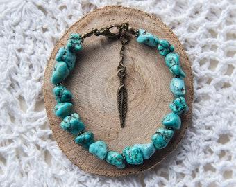 Turquoise Gemstone Bracelet, Bronze Chain, Turquoise Nugget, Chain Bracelet, Feather Charm Bracelet