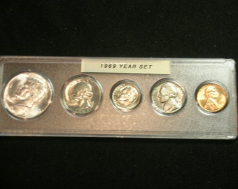 1962-P/&D MINT SET ~~ 10 COIN SET SILVER FRANKLINS ~~ ORIGINAL GOVERNMENT CELLO