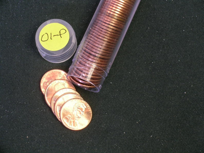 BU Copper 2001-P Brilliant Uncirculated Roll Lincoln Pennies Roll of Cents