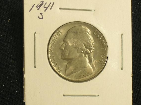 Key Date Coin 1941-S Sharp High Grade Jefferson Nickel Luster