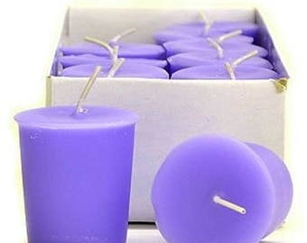 Lavender & Vanilla  Scented  Votive Candles 15 Hour Soy Candles Pick A Pack