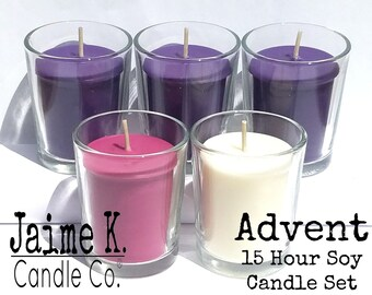 Advent 15 Hour Soy Votive Candle Set with Glass Holders
