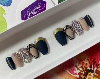 Navy blue || Nude || Burgundy || Diamonds & Rhinestones Ab || False nails ||Fake nails || Press on nails || Gel Nail art || Gel Nails