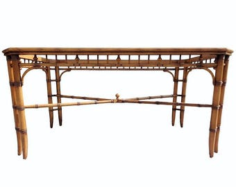VVH Vintage Faux Bamboo Fretwork Dining Table with Glass Insert X Stretcher Hollywood Regency Chinese Chippendale Coastal Palm Beach