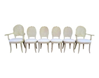 VVH Set Of Six Vintage Venetian Grotto Style Scalloped Shell Back Wood  Dining Chairs Carved Hollywood Regency Palm Beach Coastal Mid Century