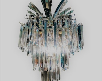2d47dea817b4 VVH Dazzling Vintage Hollywood Regency Three Tier Lucite Palm Chandelier  Triedre Style Hanging Lucite Crystals Art Deco Mid Century Modern