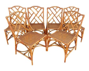 Genial VVH Vintage Set Of Six Italian Chinese Chippendale Dining Chairs Rattan  Bamboo Coastal Palm Beach TLC ~ TABLE Available (Base) Separately