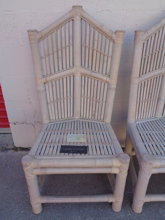 1 Vtg Rattan Bamboo Cathedral Back Dining Chairs 2 ARM 1 SIDE 3 AVAIL Henry Link