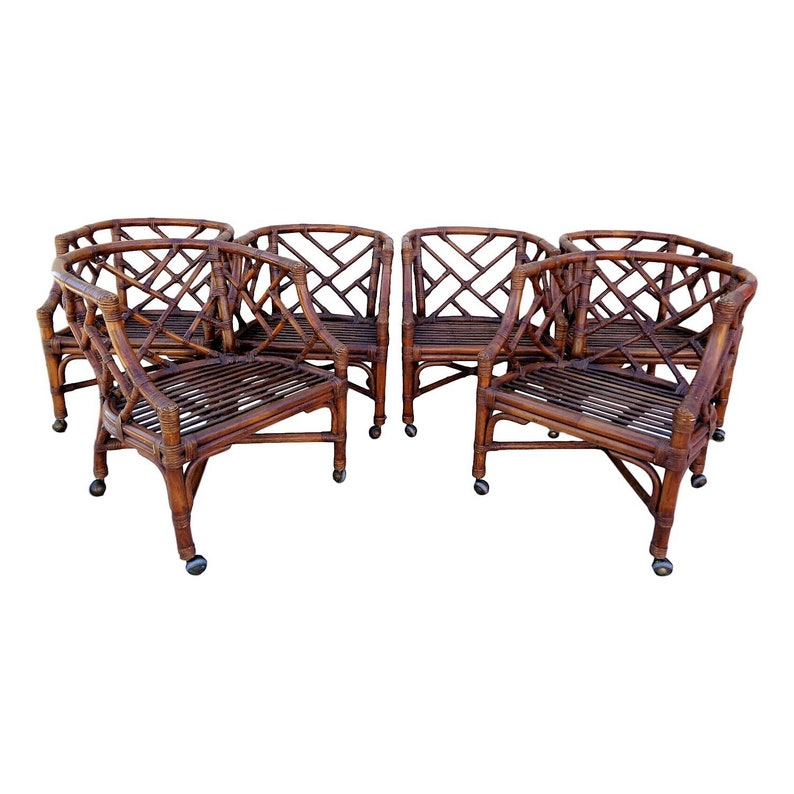 Admirable Vvh Set Of 6 Vintage Rattan Chinese Chippendale Dining Chairs Rattan Barrel Back Chairs Tub Chairs On Casters One Table Base Available Ocoug Best Dining Table And Chair Ideas Images Ocougorg